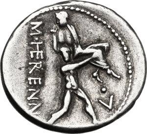 reverse: M. Herennius.. AR Denarius, 108-107 BC