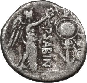 reverse: P. Vettius Sabinus.. AR Quinarius, 99 BC