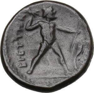 reverse: Bruttium, Brettii. AE Half Unit, circa 214-211 BC