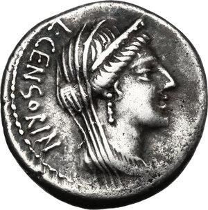 obverse: L. Censorinus with P. Crepusius and C. Limetanus.. AR Denarius, 82 BC