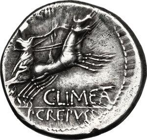 reverse: L. Censorinus with P. Crepusius and C. Limetanus.. AR Denarius, 82 BC
