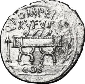 obverse: Q. Pompeius Rufus. Fourrée Denarius, 54 BC