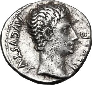 obverse: Augustus (27 BC-14 AD).. AR Denarius, Lugdunum mint, 15 BC