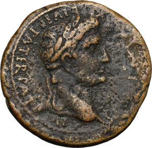 obverse: Augustus (27 BC - 14 AD)  . AE Sestertius, struck 10-14 AD. Lugdunum mint
