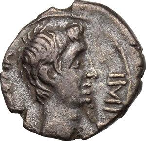 obverse: Augustus (27 BC - 14 AD)  . AR Quinarius, c. 29-27 BC
