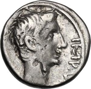 obverse: Augustus (27 B.C - 14 AD).. AR Quinarius, c. 29-27 BC