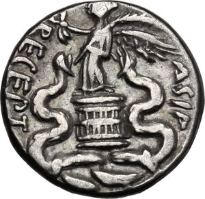 reverse: Augustus (27 B.C - 14 AD).. AR Quinarius, c. 29-27 BC
