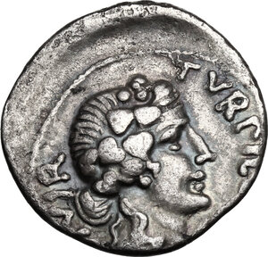 obverse: Augustus (27BC - 14AD).. AR Denarius, P. Petronius Turpilianus moneyer, 18 BC