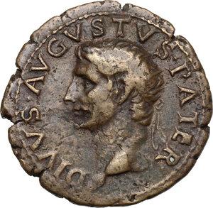 obverse: Augustus (Divus, after 14 AD).. AE As, struck under Tiberius, circa 22-30 AD