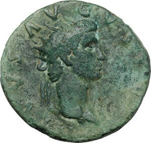 obverse: Augustus (Divus, after 14 AD).. AE Dupondius. Restitution issue, struck under Nerva, 98 AD
