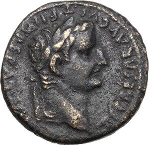 obverse: Tiberius as Caesar (4-14).. AE As, Lugdunum mint. Struck under Augustus, 9-14 AD