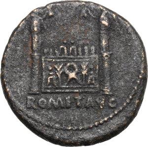 reverse: Tiberius as Caesar (4-14).. AE As, Lugdunum mint. Struck under Augustus, 9-14 AD
