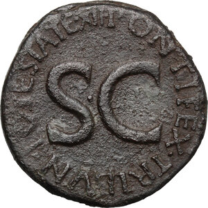 reverse: Tiberius as Caesar (4-14 AD).. AE As, Rome mint. Struck under Augustus, 8-10 AD
