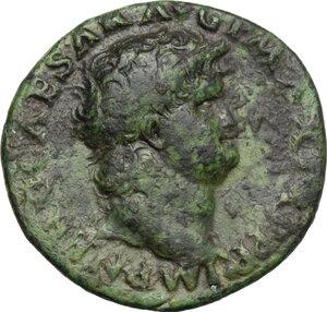 obverse: Nero (54-68).. AE As, Lugdunum mint, 66 AD