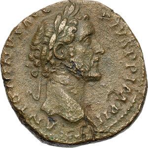 obverse: Antoninus Pius (138-161). AE Sestertius, 156-157AD