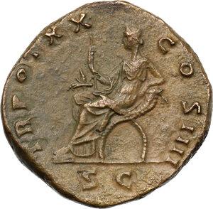 reverse: Antoninus Pius (138-161). AE Sestertius, 156-157AD