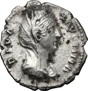 obverse: Faustina I, wife of Antoninus Pius (died 141 AD).. AR Denarius, Rome mint, after 141 AD