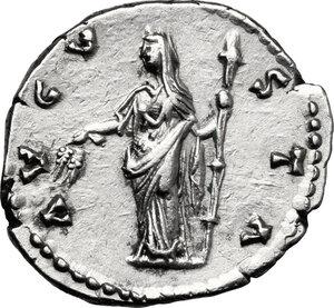 reverse: Faustina I, wife of Antoninus Pius (died 141 AD).. AR Denarius, after 141 AD