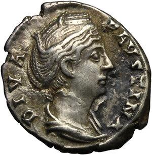 obverse: Faustina I, wife of Antoninus Pius (died 141 AD).. AR Denarius, 141 AD