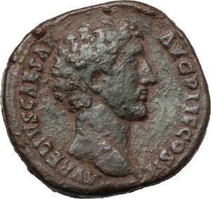 obverse: Marcus Aurelius as Caesar (139-161).. AE Sestertius, 145 AD