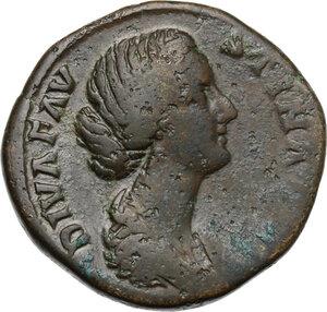 obverse: Faustina II, wife of Marcus Aurelius (died 176 AD).. AE Sestertius. Consecration issue. Struck under Marcus Aurelius, after 176 AD