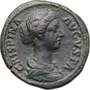 obverse: Crispina, wife of Commodus (died 183 AD).. AE Sestertius, Rome mint, 178-182 AD