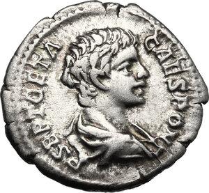 obverse: Geta as Caesar (198-209).. AR Denarius, Rome mint