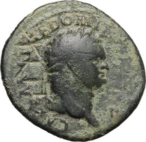 obverse: Ostrogothic Italy, uncertain king, early to mid 6th century.. AE 42 Nummi, countermarked early imperial bronze issue