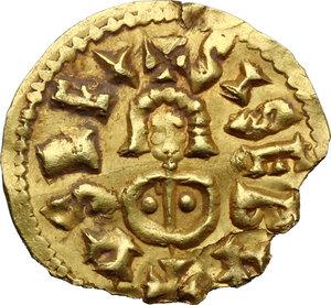 obverse: Visigoths in Spain. Sisebut (612-621).. AV Tremissis. Emerita (Mérida) mint