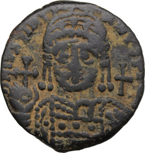 obverse: Justinian I (527-565).. AE Half Follis, Antioch/Theoupolis mint
