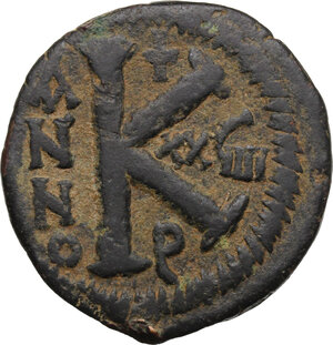 reverse: Justinian I (527-565).. AE Half Follis, Antioch/Theoupolis mint