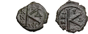 reverse: Justin II (565-578).. Multiple lot of two (2) Halves Folles, Thessalonica mint