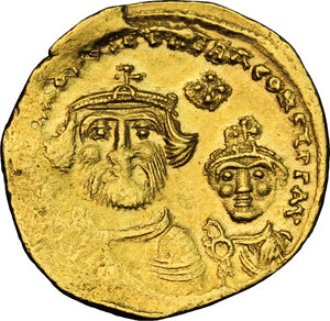 obverse: Constans II (641-668) with Constantine IV.. AV Solidus. Constantinople mint. Struck 654-659 AD