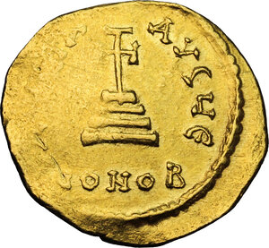 reverse: Constans II (641-668) with Constantine IV.. AV Solidus. Constantinople mint. Struck 654-659 AD