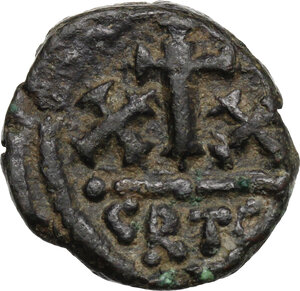 reverse: Constans II, with Constantine IV (641-668). . AE Half Follis, Carthage mint