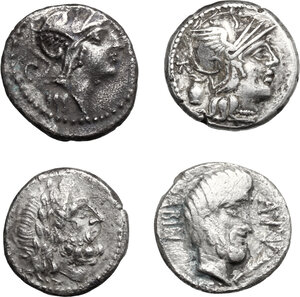 obverse: Roman Republic. Multiple lot of four (4) unclassified AR issues: a Victoriatus and three Denarii. Mostly very fine