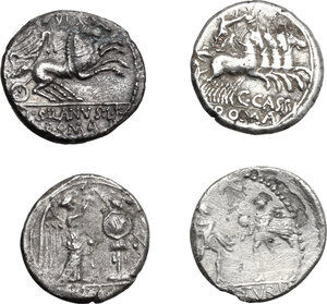 reverse: Roman Republic. Multiple lot of four (4) unclassified AR issues: a Victoriatus and three Denarii. Mostly very fine