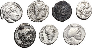 obverse: Roman Republic. Multiple lot of seven (7) unclassified AR coins including: four (4) Denarii, two (2) Quinarii and a debased Victoriatus