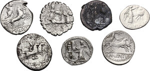 reverse: Roman Republic. Multiple lot of seven (7) unclassified AR coins including: four (4) Denarii, two (2) Quinarii and a debased Victoriatus