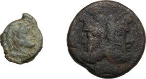 obverse: Roman Republic. Multiple lot of two (2) unclassified anonymous AE issues: As and Quadrans