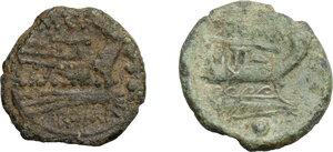 reverse: Roman Republic. Multiple lot of two (2) AE Denominations: Sextantal series, AE Uncia Cr. 56/7, g. 3,24, M. Vargunteius, AE Quadrans Cr. 257, 4, g. 2.93