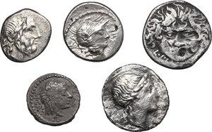 obverse: Roman Republic. Multiple lot of five (5) AR Coins, including Denarius of L. Plautius Plancus