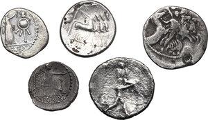 reverse: Roman Republic. Multiple lot of five (5) AR Coins, including Denarius of L. Plautius Plancus