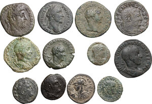 obverse: Roman Republic and Empire.. Multiple lot of twelve (12) unclassified AE coins, including an As of Trajan and a Sestertius of Commodus