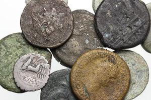 obverse: Roman Republic and Roman Empire.. Multiple lot of twelve (12) unclassified coins, mostly AE, including Antonius Balbus AR Denarius