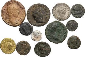 obverse: Roman Empire. Augustus to Constantius II.. Multiple lot of twelve (12) unclassified silver (1) billon (1) and bronze (10) issues. The lot includes Augustus AR Quinarius, a rare Quadrans of Annius Verus and a gilded AE Denarius of Aurelian (Ancient forgery ?)