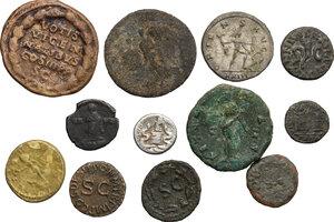 reverse: Roman Empire. Augustus to Constantius II.. Multiple lot of twelve (12) unclassified silver (1) billon (1) and bronze (10) issues. The lot includes Augustus AR Quinarius, a rare Quadrans of Annius Verus and a gilded AE Denarius of Aurelian (Ancient forgery ?)