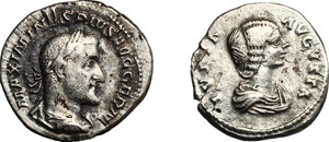 obverse: Roman Empire.. Multiple lot of two (2) unclassified AR Denarii of Julia Domna and Maximinus II