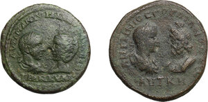 obverse: Roman Empire. Gordian and Tranquillina.. Multiple lot of two (2) AE of Mesembria (Thrace) and Dionysopolis (Moesia Inferior)