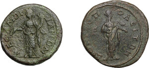 reverse: Roman Empire. Gordian and Tranquillina.. Multiple lot of two (2) AE of Mesembria (Thrace) and Dionysopolis (Moesia Inferior)